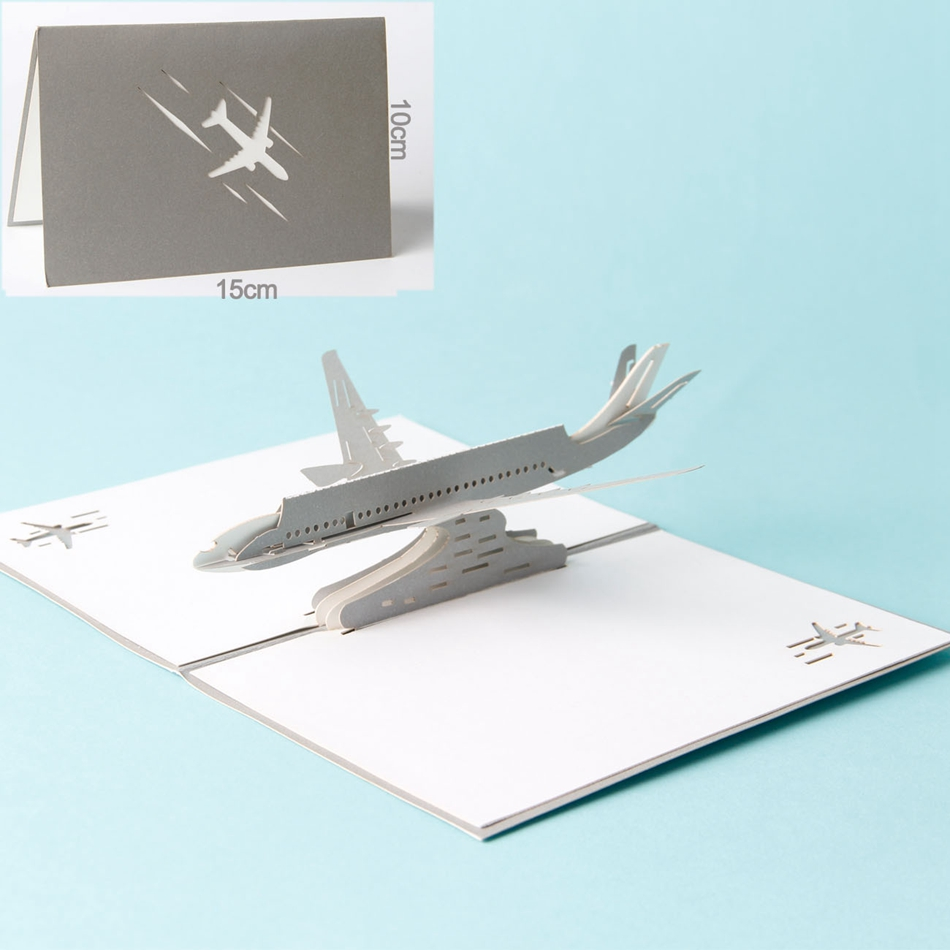 Paper Laser cut 3D pop up cards vintage plane gifts postcard ...