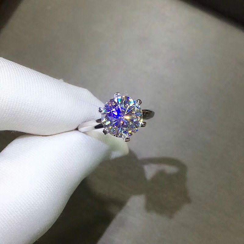 2ct Carat Moissanite Engagement Rings for Women 925 Sterling Silver Platinum Plated Rings Wedding Jewelry with