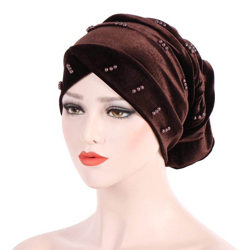 New Fashion Women Autumn Winter Muslim Beading Pearl Ruffle Hat Beanie Scarf Turban Head Wrap Cap  #4F09 (2)