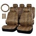 Мода Леопардовый Плюшевые Чехлы На Сиденья Автомобиля Женщин Универсальный Fit наиболее ВНЕДОРОЖНИК Сиденье 38 см Руль Охватывает 12 шт. Набор-коричневый