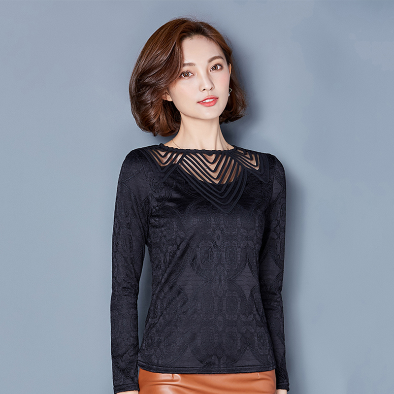 Lace Blouse Hollow Out Long Sleeve Shirt Women Tops Fashion Patchwork Blouses Blusas Y Camisas Mujer 2018 autumn Chemise Femme