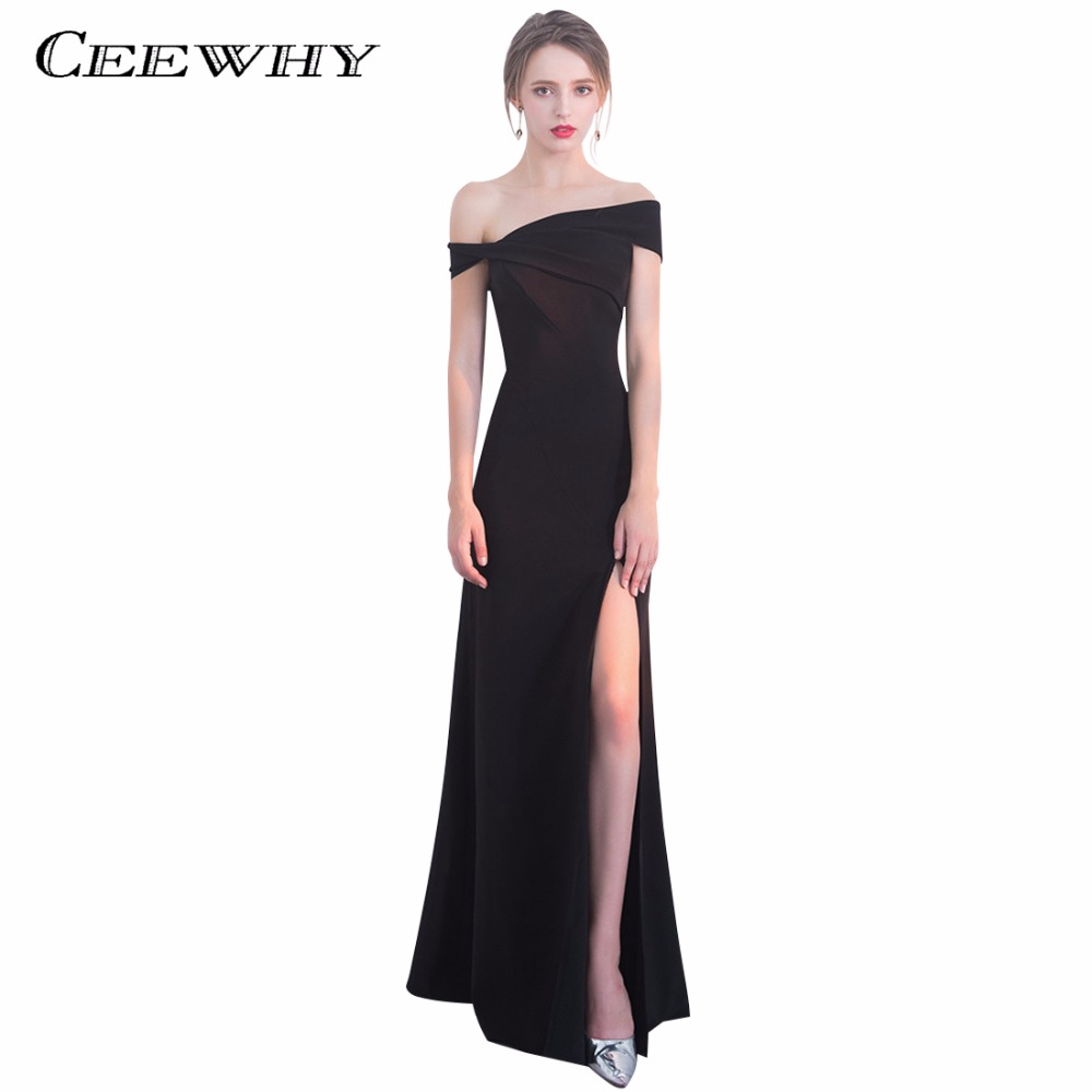 2d6403f43d557 CEEWHY Side Split Elegant Evening Party Dress for Prom Vestido de Festa  Style Dress Black Prom Dresses long Abendkleider-in Evening Dresses from ...