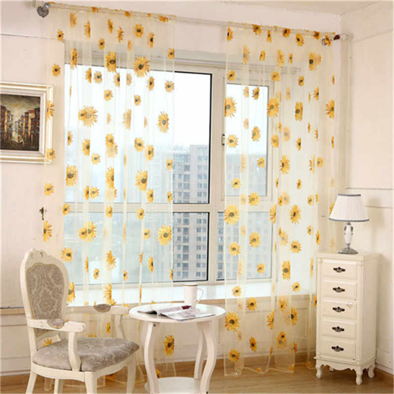 New Stylish Sunflower Curtains Window Screens Door Balcony Curtain Transparent Panel Sheer Scarfs VBJ77  P20