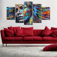 Colorful Abstract Wall Art Canvas Prints Hair Woman Face Poster Indian Girl Painting for Dining Room Decor Wholesale