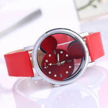Rhinestone Watch Women 2016 Fashion Brand Luxury Mouse Design Casual Quartz Wristwatches Ladies Dress Clock Girl Cartoon Watch