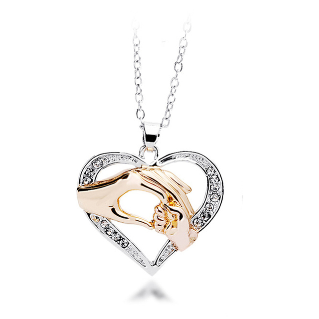 Mothers Day Gift Mother Baby Hand Holding Love Heart Pendant