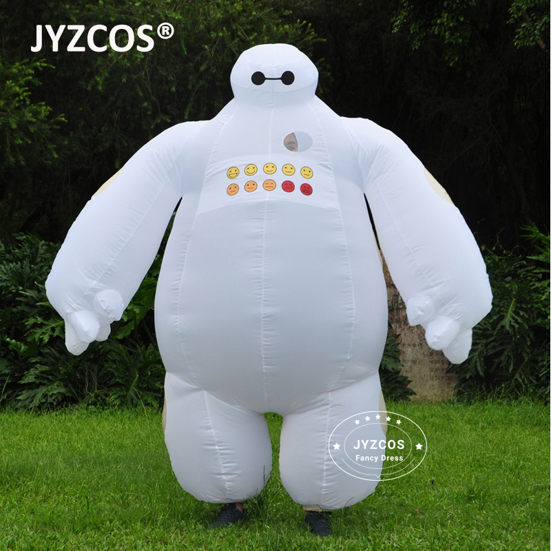 JYZCOS Purim Halloween Uppblåsbara kostym Big Hero 6 Baymax Party Cosplay kostym för män kvinnor vuxen baymax Mascot Fancy Dress