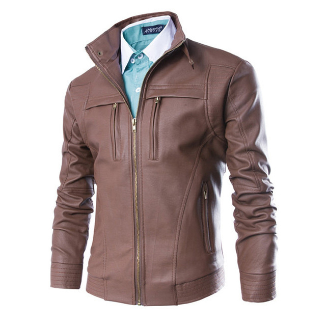 hot sale fashion men slim fit leather jacket comfortable motorcycle outwear coat black coffee size M 3XL 4XL CY212