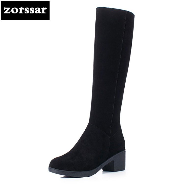 {Zorssar} 2019 New Winter Warm Plush Snow boots Fashion Woman Thigh High Boots Suede Leather Women Knee High boots High heels ryvba woman knee high snow boots fashion thick plush warm thigh high boots winter boots for women shoes womens female sexy flats