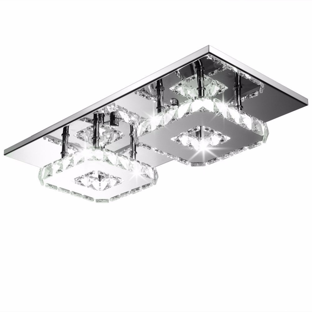 Modern Crystal LED Ceiling lights Fixture For Indoor Lamp lamparas Surface Mounting Ceiling Lamp crystal celling lamp 90~260V usb3 0 round type panel mounting usb connecter silver surface