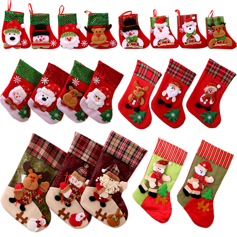 Lovely Christmas Stockings Socks 2018 New Year Santa Claus Candy Gift Bag  Christmas Tree Decorations Pendant Hanging Ornament