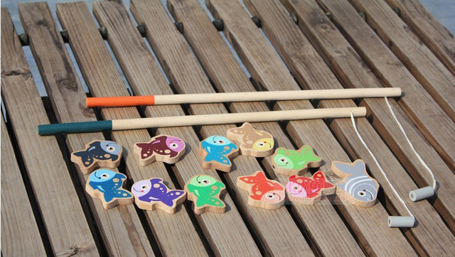 Wooden magnetic fishing toy with 11 fish and 2 fishing rods gift for kis and children Learning & education toys Free shipping