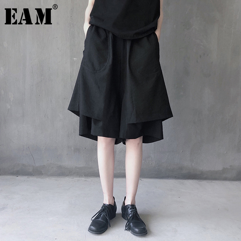 [EAM] 2020 New Spring Autumn High Elastic Waist Brief Temperament Personality Loose Wide Leg Pants Women Trousers Fashion JX235