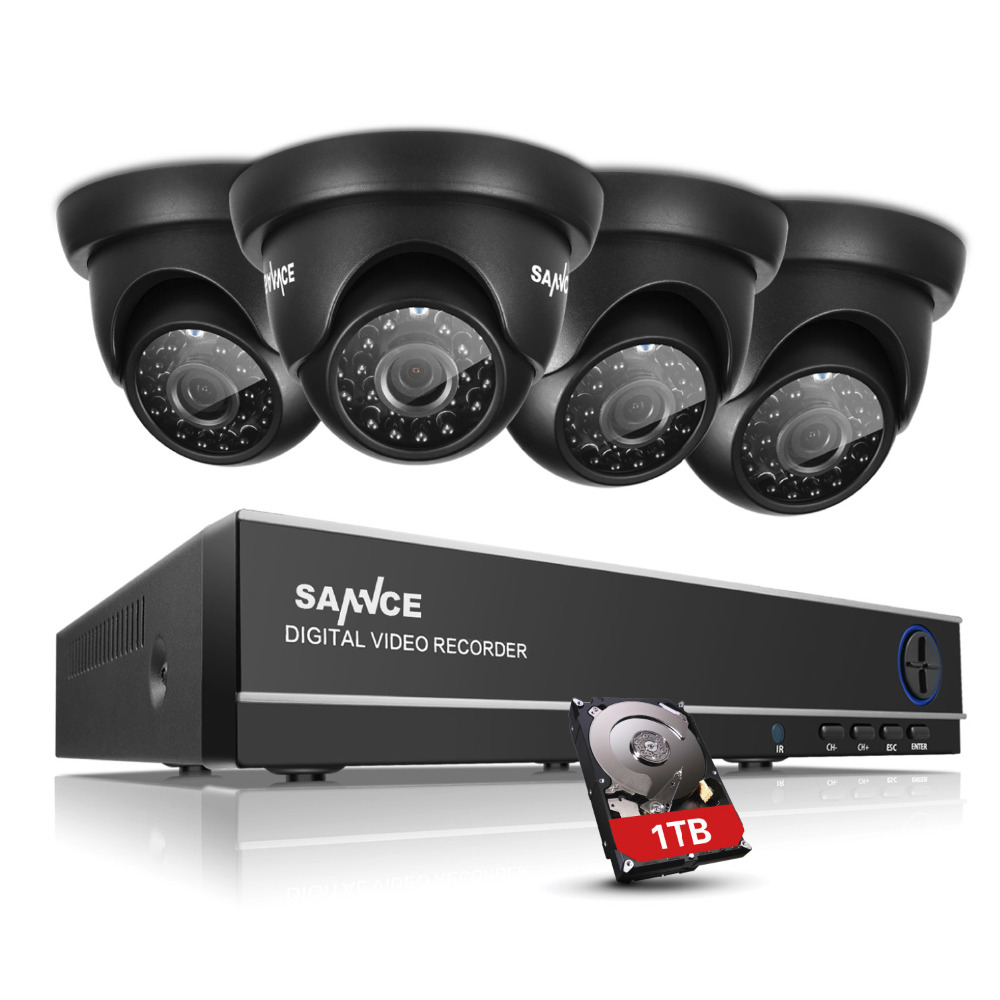 SANNCE 8CH TVI HDMI 4 in 1 Hybrid DVR NVR HVR 1.0 MP CCTV Home Security Outdoor Surveillance System Kit With 4 Cameras 1TB HDD sannce hd 4ch cctv system hdmi ahd dvr kit 720p outdoor security waterproof night vision surveillance kits with 4 cameras 1tb