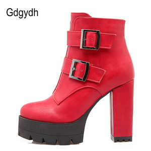 Image 4 - Gdgydh Wholesale Spring Women Boots Platform Rubber Sole Ladies Casual Shoes Plus Size Black High Heels Zipper Red Leather Boots