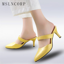 plus Size 34-43 Women Slippers High Heels Shoes Mules Pointed Toe Sexy Low Heels Shoes Slip On Slides Pumps Fashion Women Shoes