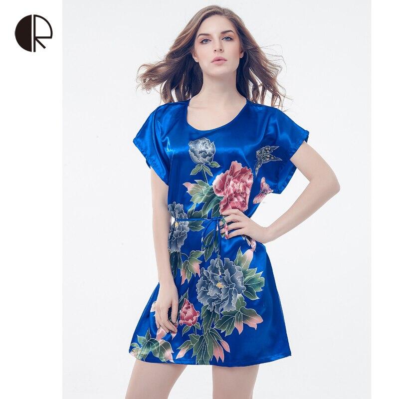 Top Sale Nightgowns Sleepshirts 2016 Silk Plus Size Home Bathrobe
