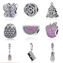 Новинка 925 стерлингового серебра Шарм празднование время кошелек бабочка кулон с CZ Бусины Подходят Pandora DIY браслеты ювелирные изделия