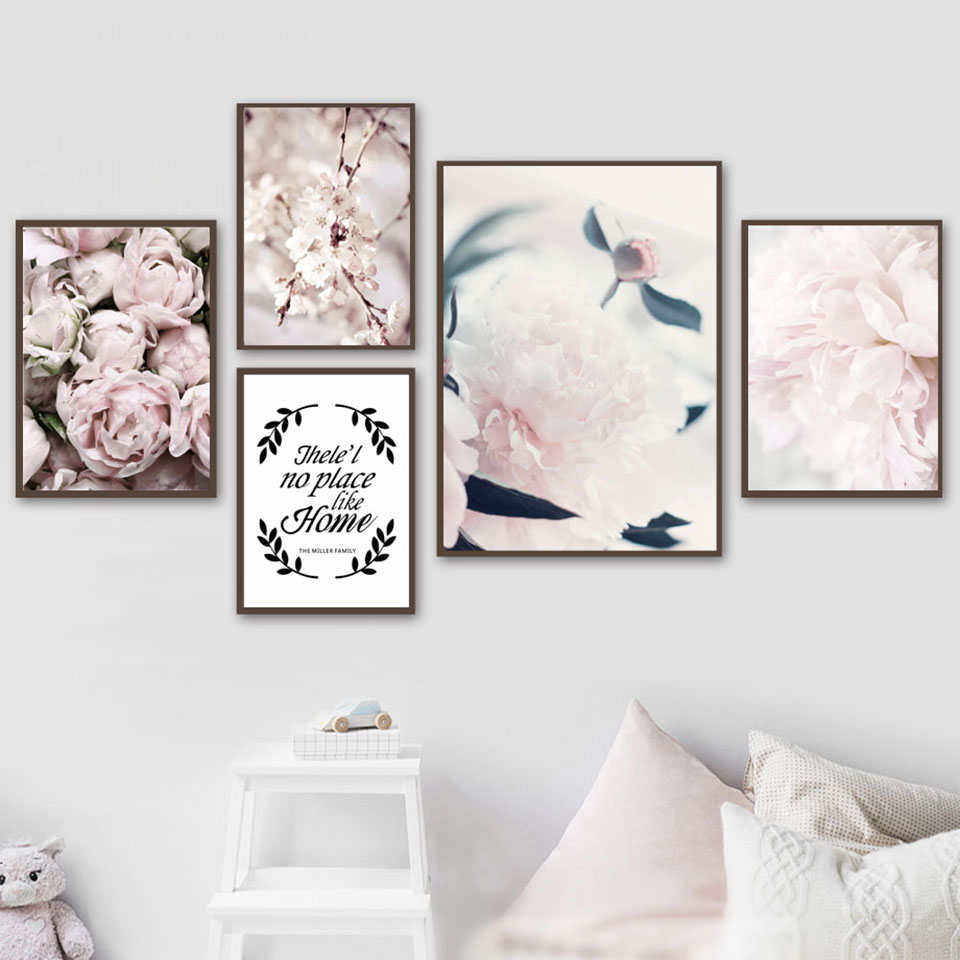 Home Poster Pink Flower Pictures HD Prints Wall Art Nordic Style Modular Painting On Canvas Fresh For Living Room Decoration