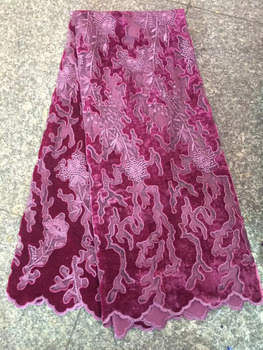 French Lace Fabrics 2018 Hot Sale Cheap Velvet Nigerian Net Laces Fabric High Quality African Velvet Lace Fabric For Women CDF
