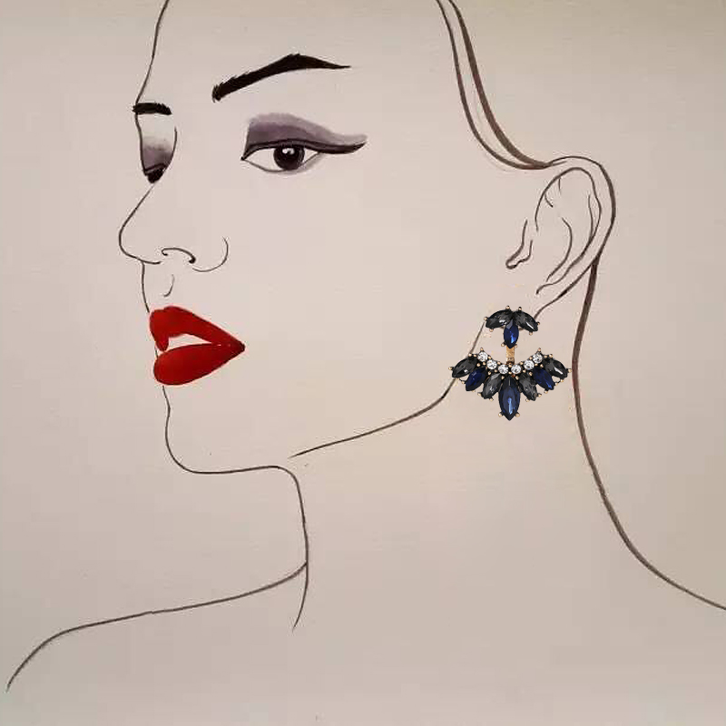 JURAN 2018 New Design White Black Retro Stud Sweet Earrings For Women Detachable Crystal Vintage Charm Earrings Wholesale F3107