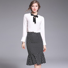 Europe and the new two piece temperament fishtail skirt Beaded silk shirt + slim package hip skirt step