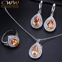 CWWZircons Trendy Attractive Champagne Yellow Water Drop Cubic Zirconia Crystal 925 Sterling Silver Jewelry Set For