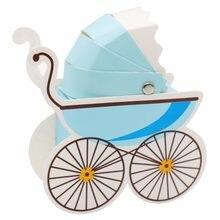 10 pçs papel caixa de doces carrinho de bebê forma chá de fraldas favores crianças festa de aniversário presentes de casamento chá de bebê decoração suprimentos