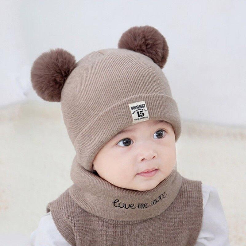 Baby Kids Winter Hat Scarf Set Beanies Warm Cap For Boys Girls Pompom Newborn