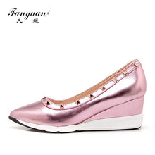 Fanyuan 2018  Elegant Women Pumps Rivets Pointed Toe Wedges pink gold sliver High-quality Shoes Lady Party Dress