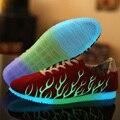 Iluminar Sapatos Para Os Amantes de Lona Sapatos Masculinos Casuais Respirável Sapatos de Caminhada Ao Ar Livre Brilhante Luminosa Sapatos Zapatillas Deportivas