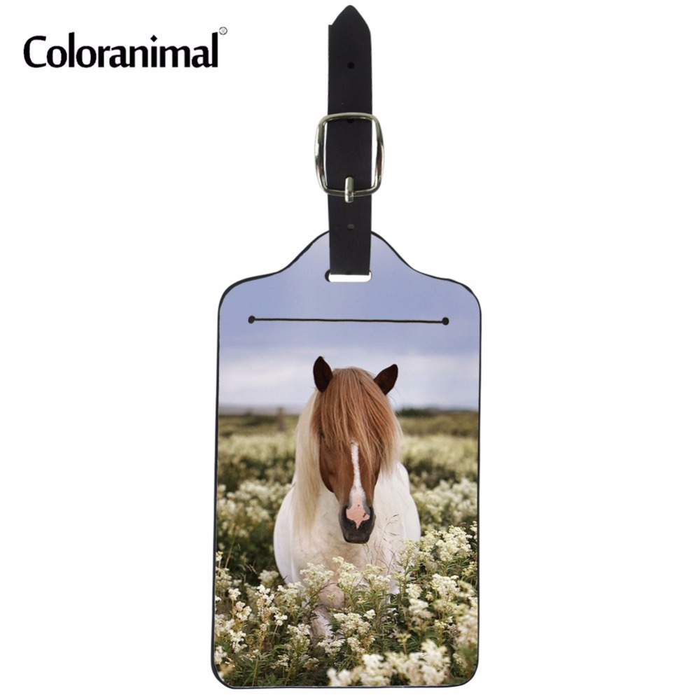 Coloranimal Luggage Tags Suitcase Label Covers Crazy Horse Print Bank Card High Quality PU Leather Women Men ID Holder Label Bag