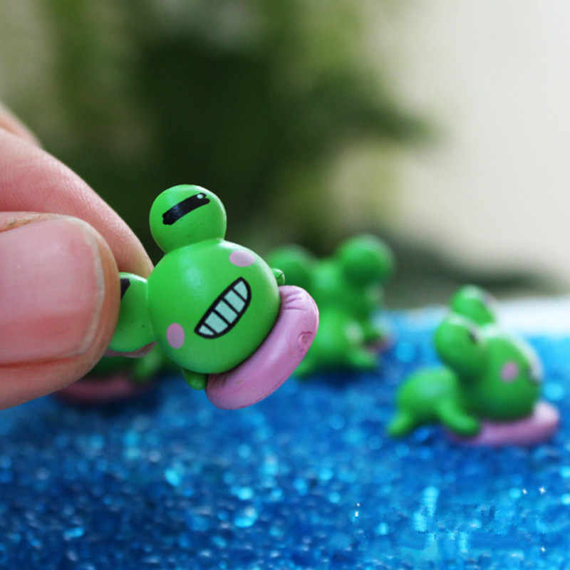 WCIC 10 pcs Miniature SMILE กบขนาดเล็ก Bonsai Terrarium เครื่องประดับ DIY Dollhouse Fairy Garden Micro Plant POT