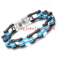 10mm Blue Black Motorcycle Bike Chain 316L Stainless Steel Charm Crystal Drill Bracelet Bangles For Mens