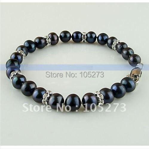 """Модный! жемчужный браслет 7,"""" Inchs Черный цвет подлинный пресноводный жемчуг браслет Размер: 7-8 мм Высокое качество FN404"""