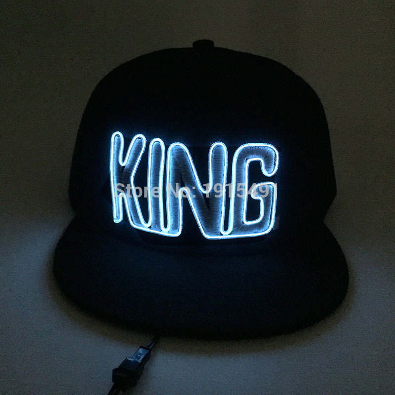 10 Colors Choice Neon Led Strip Embroidered King Hat Fashionable Light Up EL Birthday Party Cap Hipster Favors as Event Present