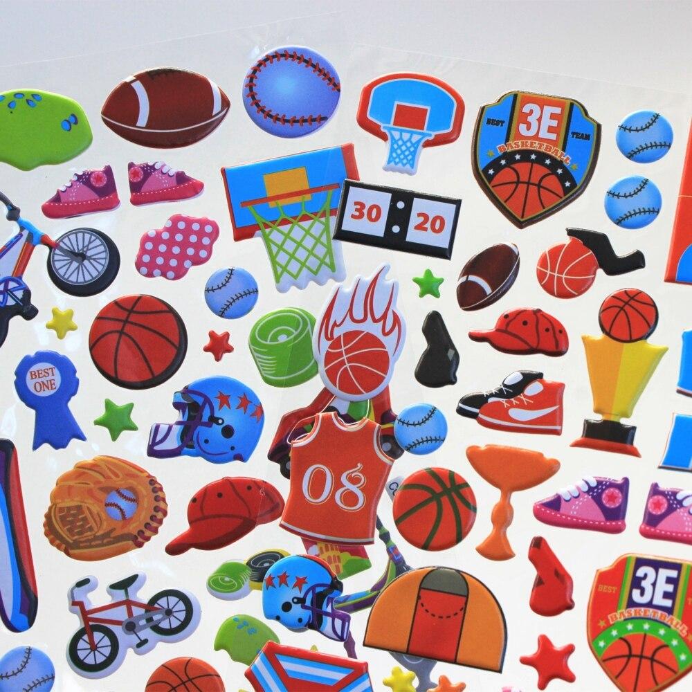 1 Sheet Sports Equipment Kids 3D Cartoon bubble Stickers Baby Gift Children Toys CC-35/36