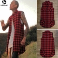 Black/White/Red Plaid XXXL Long Back Zipper Streetwear Swag Man Hip Hop Skateboard Tyga T-shirt T shirt Top Tees Men Clothing