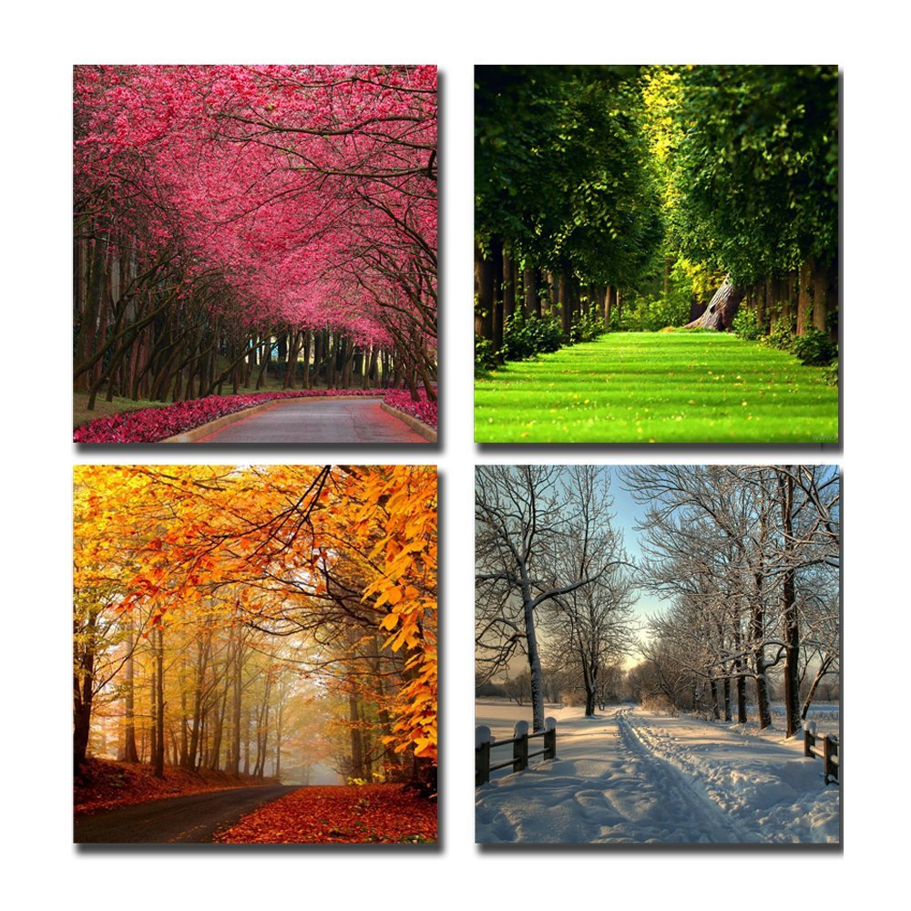 World Wide Wohnzimmer Modern Four Seasons Tree Landscape Canvas Art Painting Canvas Living Room Bedroom Home Office Wall Art Landscape Painting