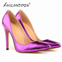 LOSLANDIFEN Small Crocodile Women Pumps Sexy Cusp Shoes High Heels Spring Brand Wedding Dress Pumps Plus Size 35-42  302-1XEY