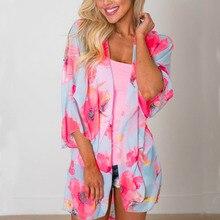 Floral Print Women Blouse Shirt Kimono Casual Pareo Beach Cover Up Blouses Swimwear Beachwear cardigan