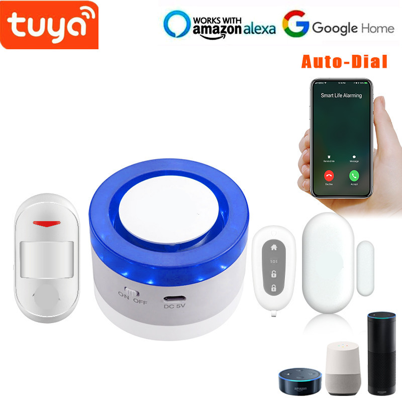 US $59 8 8% OFF|New Arrive Tuya Wi Fi Strobe Flash Siren with door sensor  PIR motion sensor DIY Wifi Alarm System-in Alarm System Kits from Security  &