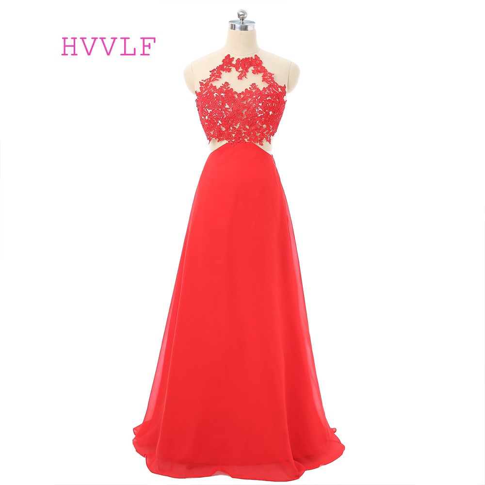 Red   Evening     Dresses   2019 A-line Halter Chiffon Lace Appliques Open Back Robe De Soiree Women Long   Evening   Gown Prom   Dress