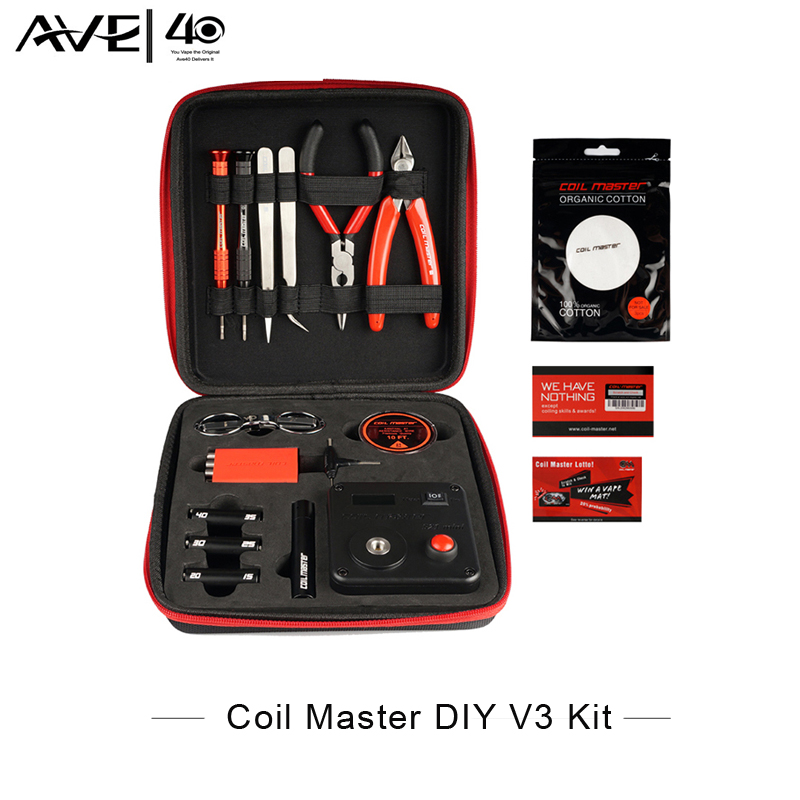 Prix pour 100% D'origine Bobine Maître DIY Kit V3 Tout-en-Un kit Cigarette Électronique RDA Atomiseur bobine outil sac accessoires de Vaporisateur vaper