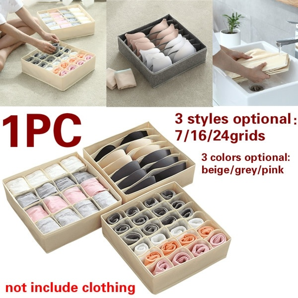 1PC Washable Underwear Storage Box Foldable 7/16/24 Grids Bras Socks Drawer Organizer Multi-function Home Storage Organizer(China)