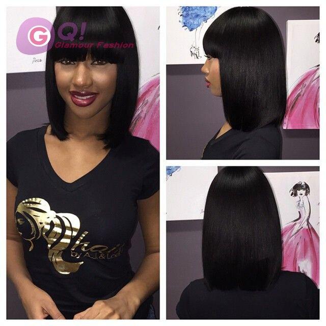 Gq 100 Virgin Brazilian Human Hair Bob Wigs With Chinese Bangs