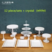 DHL Set of 12 pieces gold cake stand wedding cupcake stand set crystal candy bar decoration cake tools bakeware set