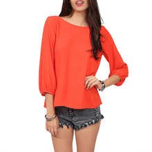 2017 NEW New Fashion Women Clothing Chiffon Shirt Summer Loose Backless Bow Blouse orange