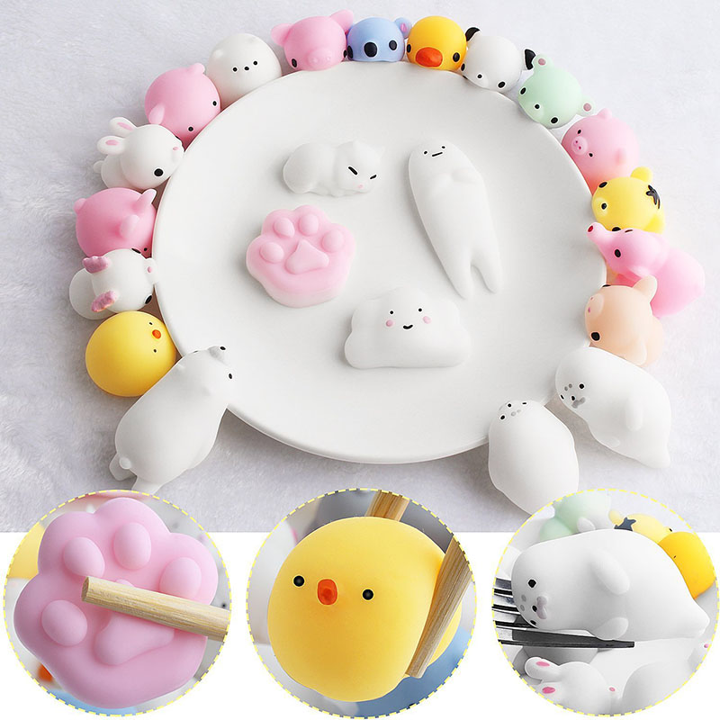 20 Styles Cute Mini Squeeze Toys Squishy Animals Abreact  Sticky Stress Relief Toys Wipes Anti-stress Ball Mochi Rising Toys