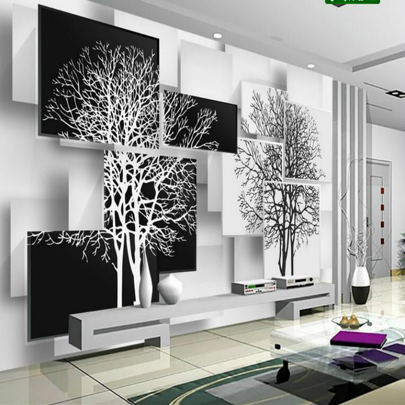 Customization 3D Wallpaper for Walls 3d Non Woven Silk Wallpaper Murals Backgrounds for Living Room Simple Black and White Tree 3d wallpaper custom mural non woven 3d room wallpaper cartoon love tree love couple murals painting photo wallpaper for walls 3d
